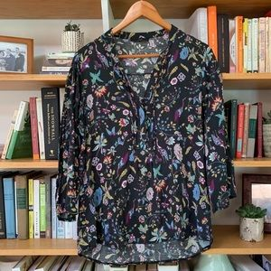 Vintage Floral Peacock Button Down Shirt MD